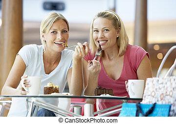 samen, etentje, mall, vrouwlijk, vrienden, hebben