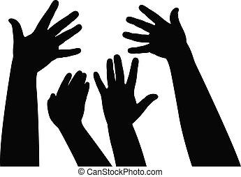 samen, handen, vector