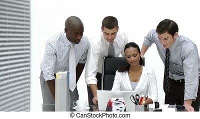 samen, kantoor, werkende , handel team