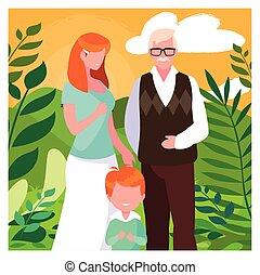 samen lopend, grootvader, vrouw, kind, park