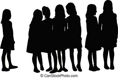samen, meiden, silhouette, vector