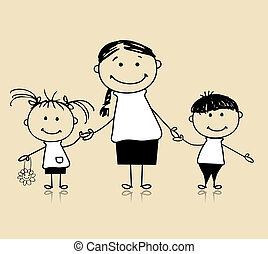 samen, moeder, tekening, vrolijke , kinderen, gezin, het glimlachen, schets
