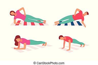 samen, paar, oefening, workout, kern, plank