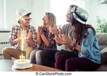 samen, thuis, vrienden, jarig, groep, vieren