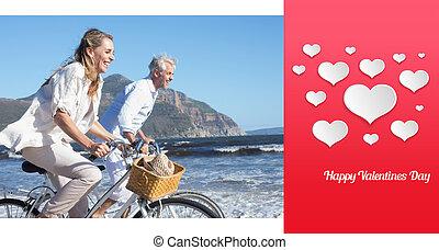 samengestelde afbeelding, hun, fietsen, paardrijden, het glimlachen, paar, beac