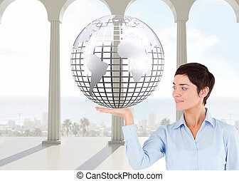 samengestelde afbeelding, van, businesswoman, met, een, open hand, om te tonen, een, de ruimte van het exemplaar, tegen, een, witte achtergrond