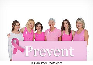 samengestelde afbeelding, van, het glimlachen, vrouwen, vervelend, roze, voor, weersta aan kanker