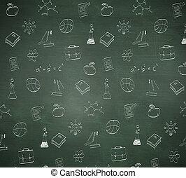 samengestelde afbeelding, van, school, doodles