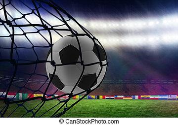 samengestelde afbeelding, van, voetbal, in rug van, het net