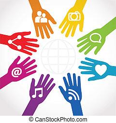 samenhangend, aandeel, handen