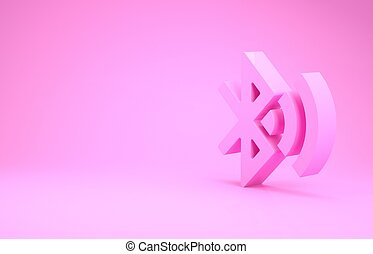 samenhangend, pictogram, 3d, roze, minimalism, illustratie, achtergrond., render, bluetooth, vrijstaand, concept.