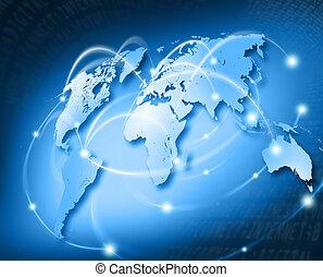 samenhangend, wereld, met, netwerk