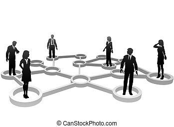 samenhangend, zakenlui, silhouettes, in, netwerk, knopen