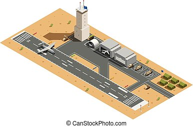 samenstelling, base, isometric, lucht, militair