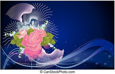 samenstelling, met, bloemen,