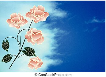 samenstelling, met, bloemen
