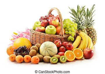 samenstelling, met, geassorteerde vruchten, in, wicker mand