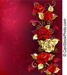 samenstelling, met, rood, juwelen, rozen