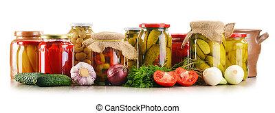 samenstelling, met, stopflessen van, pickled, vegetables., marinated, voedingsmiddelen
