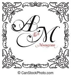 samenstelling, monogrammen, oosters, kader, middeleeuws, decoratief