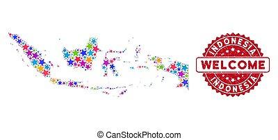 samenstelling, postzegel, kaart, indonesie, kleur, grunge, welkom, ster