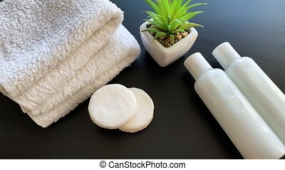 samenstelling, schoonheidsmiddel, spa, supplies., treatment., producten, douche