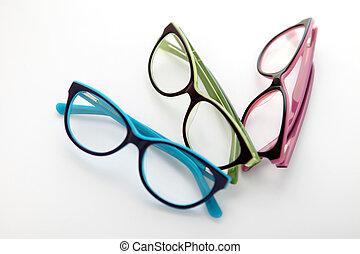 samenstelling, van, gekleurde, bril