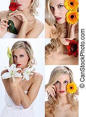 samenstelling, van, mooi, meisje, met, gevarieerd, bloemen