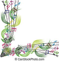 samenstelling, vecto, opmerkingen, thema, achtergrond, muziek, modieus, muzikalisch