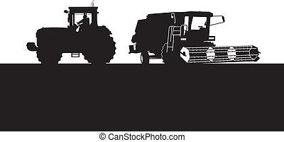 samenvoegen, en, een, tractor