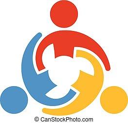 samenwerken, mensen., vector, teamwork, logo