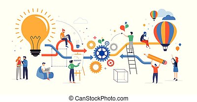 samenwerken, over, groep, zakenlui, denken, problemen, concept., het oplossen, jonge, plat, creatief, idee, vector, brainstorming, illustratie, teamwork, stijl