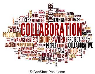 samenwerking, concept, in, woord, label, wolk