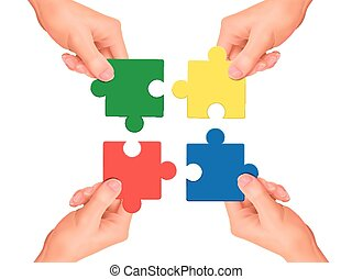 samenwerking, jigsaw stukken, holdingshanden, concept: