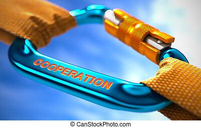 samenwerking, op, blauwe , carabiner, tussen, sinaasappel, ropes.