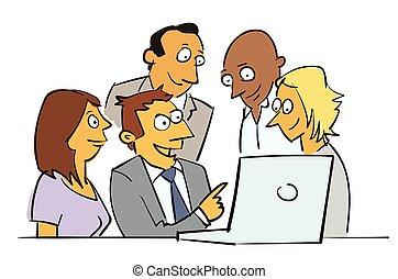 samenwerking, spotprent, zakelijk