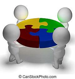 samenwerking, unie, raadsel, opgeloste, karakters, het tonen, 3d