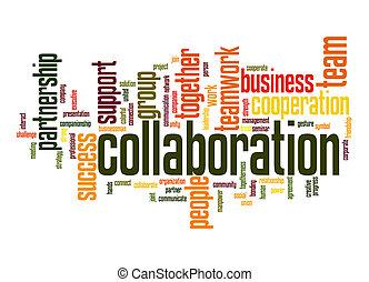 samenwerking, woord, wolk