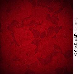 samet, -, růže, grafické pozadí, květiny, červeň
