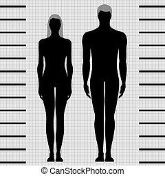 samičí, mužský, šablona, mrtvola