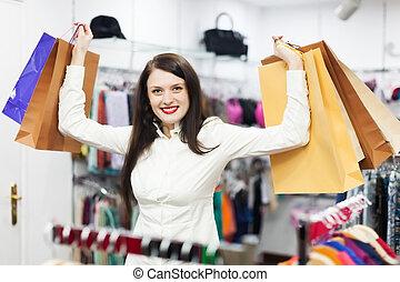 samičí, zákazník, v, šatstvo nadbytek