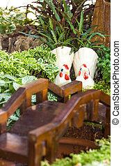 samička, zahrada, dva, panenka