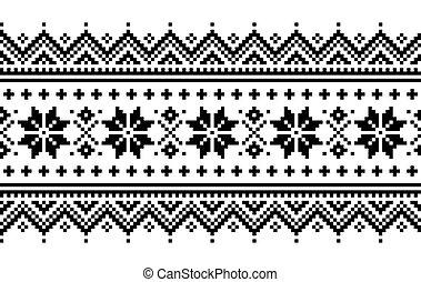 sami, inspiré, long, gens, folklorique, vecteur, broderie, ...