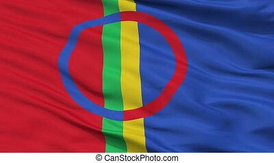 Sami Scandinavia Flag Closeup Seamless Loop - Sami...
