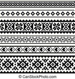 sami, tricot, laponie, seamless, modèle, traditionnel, ...
