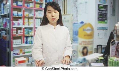 samica, apteka, demonstrowanie, chińczyk, farmaceuta, ...