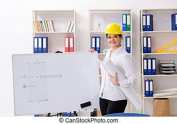 samica, architekt, biuro, pracujący