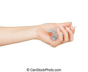 samica, biały, odizolowany, ampoules, ręka