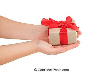 samica, dar dający, górny, dar, czerwone tło, siła robocza, zawinięty, biały, prezentacja, wstążka, prospekt