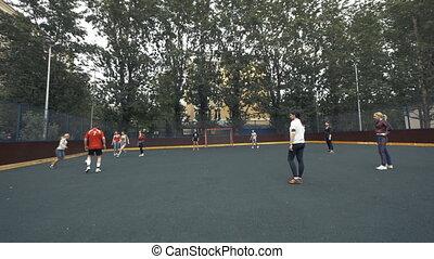 samica, drużyna piłki nożnej, interpretacja, outdoors., kobieta, football., samica, piłka nożna